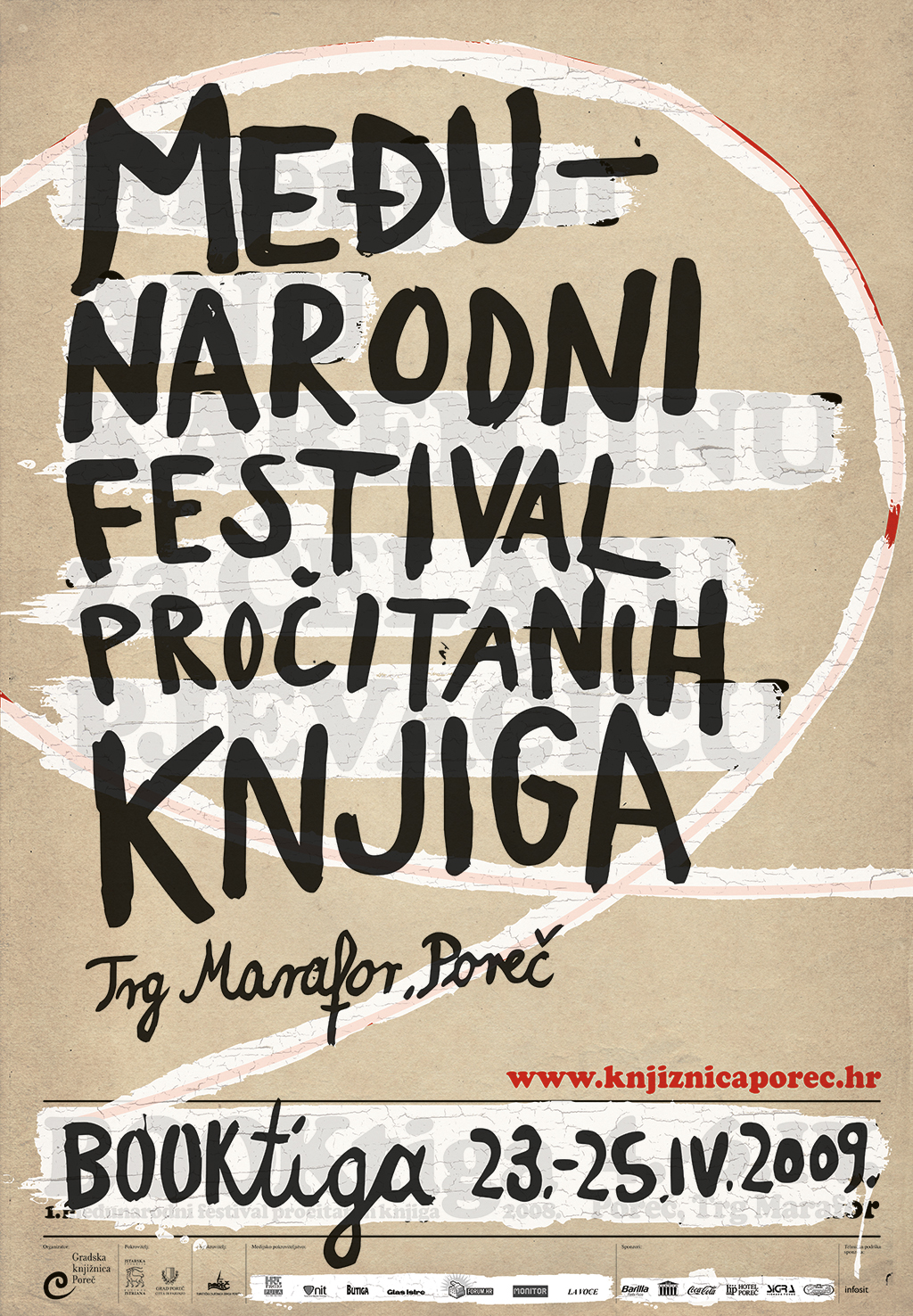 Booktiga, dizajn, festival, Hrvatska, plakat, Poreč, rabljene knjige, rabljeno, Sonda, Studio Sonda, Vižinada, Hrvatski dizajn