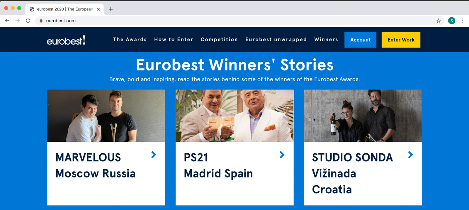 Eurobest Winners' Stories pišu o Sondi